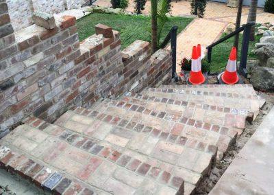 Bricklaying recycled bricks steps - SR Brick and Stonework